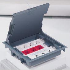 Legrand напольная коробка с глубиной 75-105 мм неукомплектованная 18 модулей под покрытие серый RAL 7031