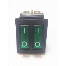Выключатель клавишный 250V 15А (6с) ON-OFF зеленый с подсветкой ДВОЙНОЙ 36-2412