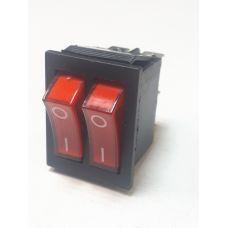 Выключатель клавишный 250V 15А (6с) ON-OFF красный с подсветкой ДВОЙНОЙ 36-2410