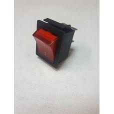 Выключатель клавишный 250V 16А (4с) ON-OFF красный с подсветкой 36-2330