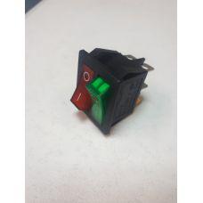 Выключатель клавишный 250V 15А (6с) ON-OFF красный/зеленый с подсветкой ДВОЙНОЙ 36-2450