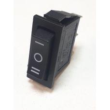 Выключатель клавишный 250V 15А (3с) ON-OFF-ON черный с нейтралью