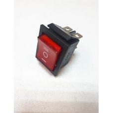 Выключатель клавишный 250V 15А (6с) ON-OFF-ON красный с подсветкой и нейтралью 36-2390-1