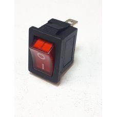 Выключатель клавишный 12V 15А (3с) ON-OFF красный с подсветкой Mini 36-2170
