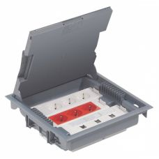Legrand напольная коробка с глубиной 75-105 мм неукомплектованная 18 модулей -антикоррозийное покрытие серый RAL 7031