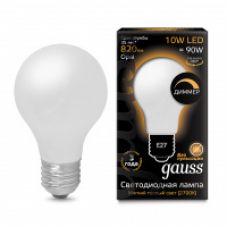 Лампа Gauss LED Filament A60 OPAL dimmable E27 10W 820lm 2700К