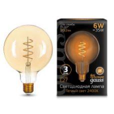 Лампа Gauss LED Filament G120 Flexible E27 6W Golden 360lm 2400К
