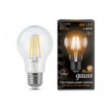 Лампа Gauss LED Filament A60 E27 6W 600lm