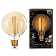 Лампа Gauss LED Filament G95 E27 8W Golden 740lm 2400К