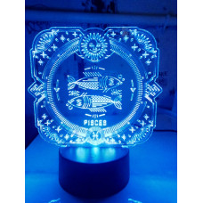 Светодиодный светильник ночник 3D знаки зодиака