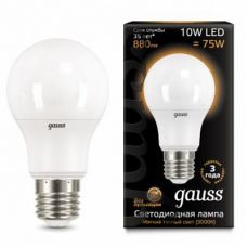 Лампа Gauss LED A60 10W E27 880lm  3000K