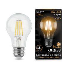 Лампа Gauss LED Filament A60 E27 8W 740lm