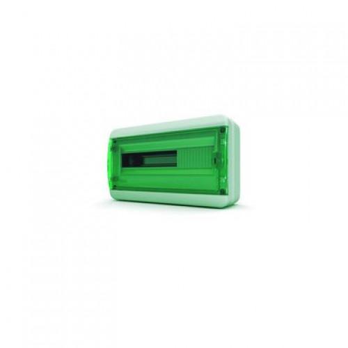 Щит навесной TEKFOR 18 модулей IP65, прозрачная зеленая дверца