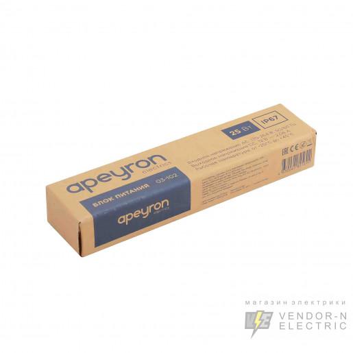 03-102 Блок питания 12В, (СТ), 25Вт, импульсный, IP67, 170-264В, 2,08А, алюм., сереб., 140*30*20мм.
