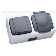 Макел IP55 герметик блок выключатель 1 кл. + розетка с крышкой серый