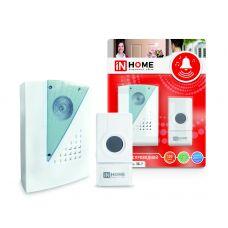 Звонок беспроводной ЗБ-7 32 мелодии 120м с кнопкой IP44 бело-серый IN HOME