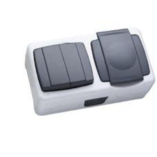 Макел IP55 герметик блок выключатель 2 кл. + розетка с крышкой серый
