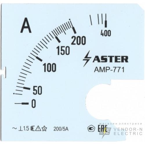 Шкала к амперметру AMP-771 200/5 А