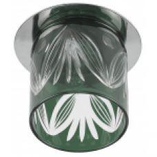 """DK53 CH/GG ЭРА декор cтекл.стакан """"листья"""" G9,220V, 40W, хром/серо-зеленый"""