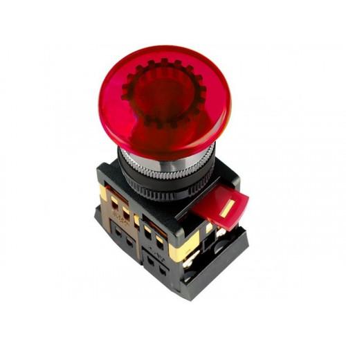Кнопка AELA-22 d22мм Грибок красная с подсветкой неон 230В 1НО+1НЗ ЭНЕРГИЯ
