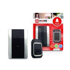 Звонок беспроводной ЗБ-10 25 мелодий с регулировкой звука, подсветкой, 150м с кнопкой IP44 черно-белый IN HOME