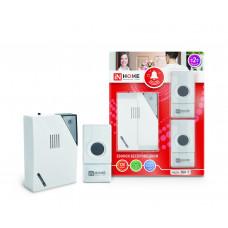 Звонок беспроводной ЗБН-5 32 мелодии 120м с двумя кнопками IP44 бело-серый IN HOME