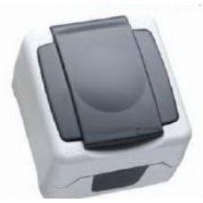 Макел IP55 герметик розетка с крышкой серая