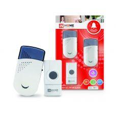 Звонок беспроводной ЗБН-6 с двумя динамиками 32 мелодии 120м с кнопкой IP44 бело-серый IN HOME