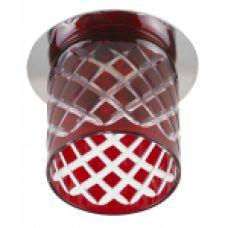 """DK54 CH/R ЭРА декор cтекл.стакан """"ромб"""" G9,220V, 40W, хром/красный"""