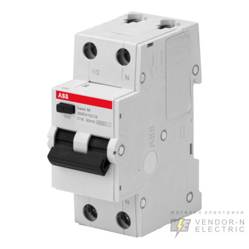 ABB Basic M Автоматический выключатель дифференциального тока (АВДТ),1P+N,16А,C,30мA, AC, BMR415C16
