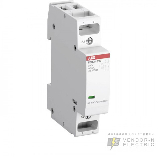 Контактор ESB20-11N-06 модульный (20А АС-1, 1НО+1НЗ), катушка 230В AC/DC